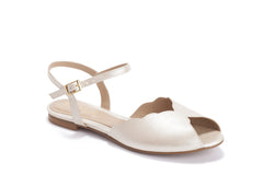 Pearl Vegan Bridal Flat Sandal, Vintage Inspired Summer Wedding Shoe - Blushfashion