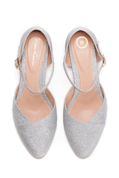 Bridal Shoe, The Romantic Sparkling Silver Low Heeled Vintage Inspired Wedding Kitten Heel