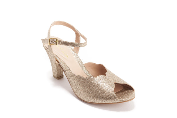 Vegan Gold Bridal Shoes, Sparkly High Heel Wedding Sandal with a Vintage Flair