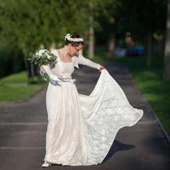 Square Neckline Vintage inspired Wedding Dress, Pearl color Lace of roses Long Sleeves dress, Rustic wedding dress 1207