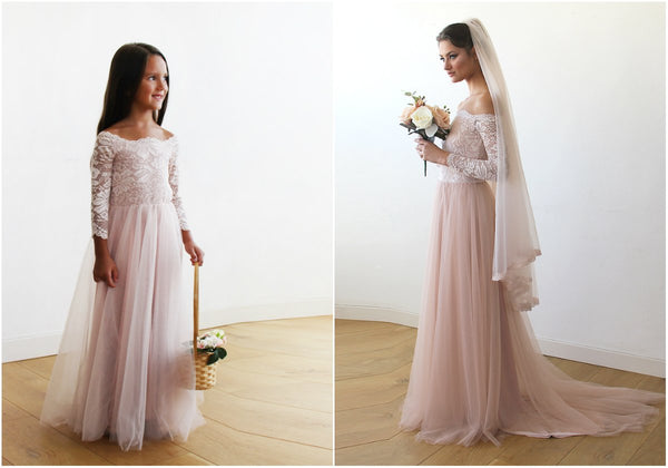 Pink Off-The-Shoulder Wedding Lace and Tulle Train, Pink Wedding Gown with Lace and Tulle Train, mommy and me dress 1162