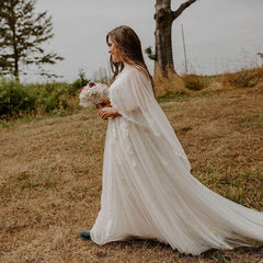 Chapel Length Ivory Cape, Chiffon bridal cape With A Train 4028