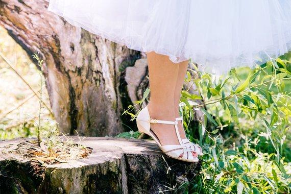 Vegan Bridal Vintage Inspired Kitten Heel, Comfortable Low Heel Wedding Shoe