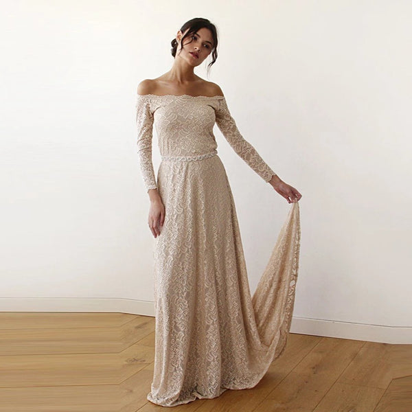 Champagne Off-The-Shoulder Floral Lace Long Sleeve Gown With Train 1148