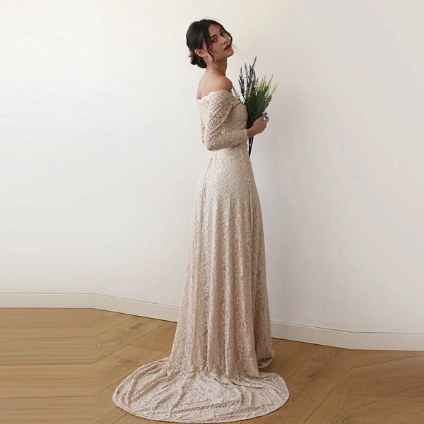 Champagne Off-The-Shoulder Floral Lace Long Sleeve Gown With Train 1148 - Blushfashion