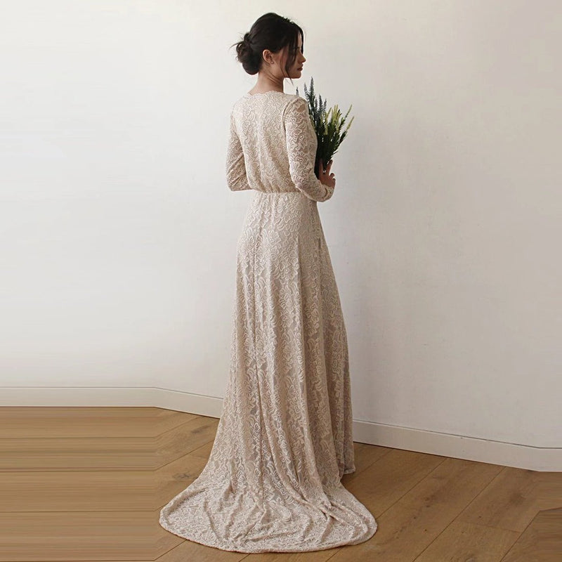 Champagne Wrap Floral Lace Long Sleeve Gown with a Train 1151 - Blushfashion