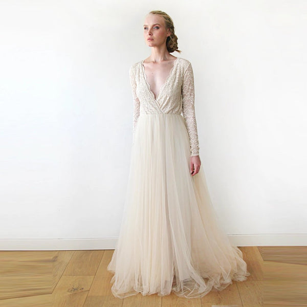 Champagne Tulle and Lace Wrap Train Dress, Wedding dress in Champagne, Long Sleeve Lace and Tulle 1164