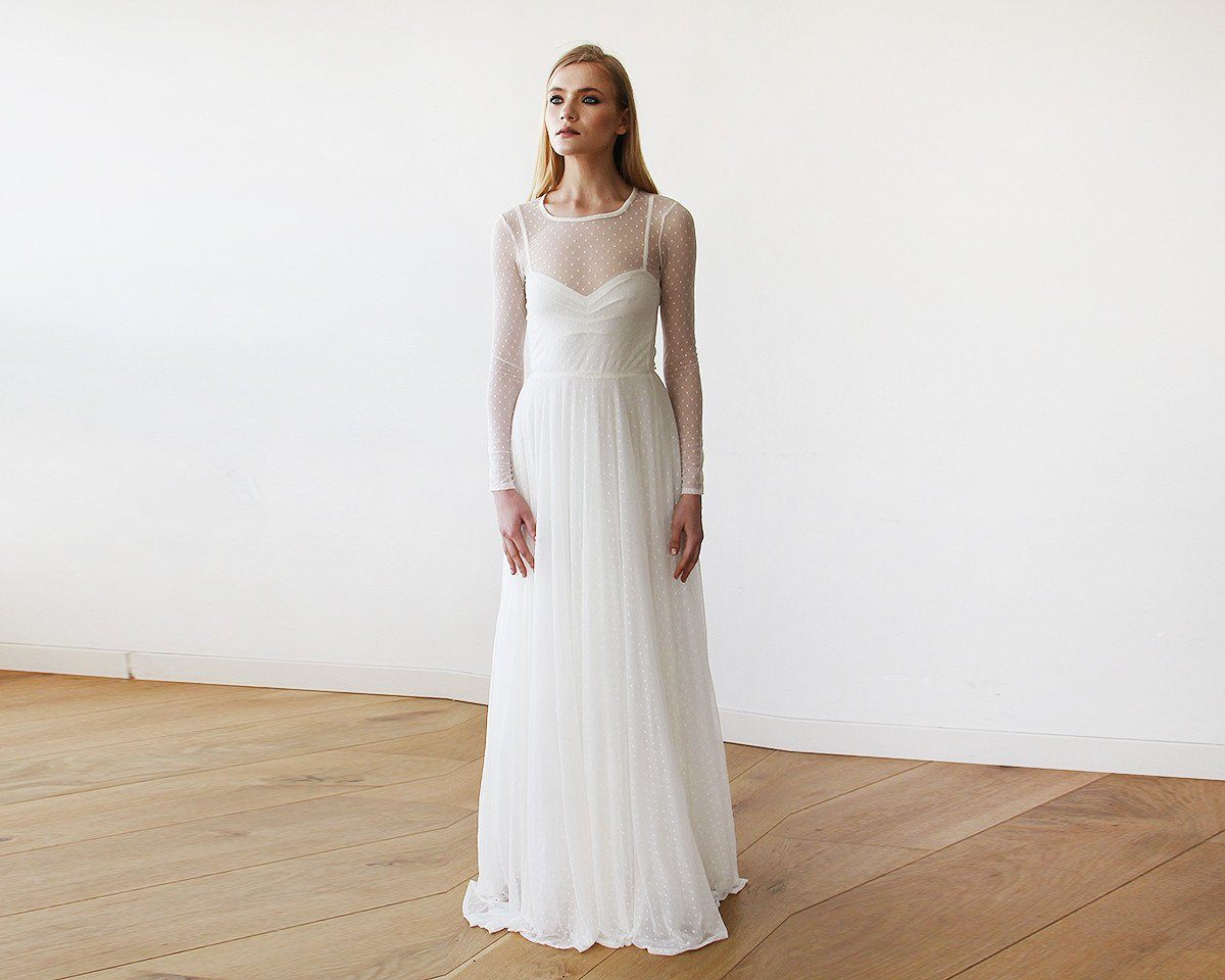 Ivory Chiffon-Dots Round Neckline Bridal Dress With Long Sleeves 1101