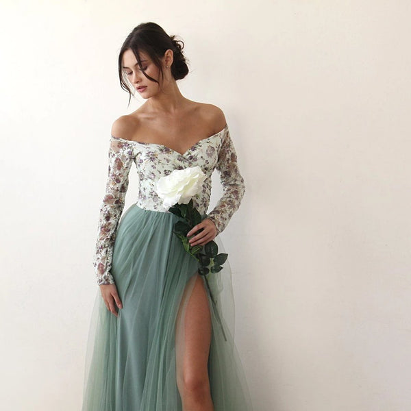 Off-Shoulder Floral And Green Tulle Dress With A Slit 1176