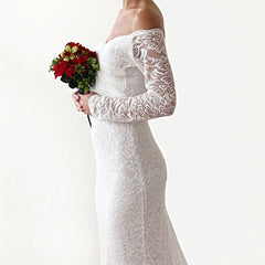 Ivory Wedding Dress with a Train,  Sweetheart Cleavage Dress,  Floral Lace Maxi Dress, Mermaid Dresses with Long Train 1193 - Blushfashion