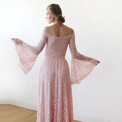 Long Bell Sleeve Lace Dress, Off-Shoulders Lace Boho Dress,  1201