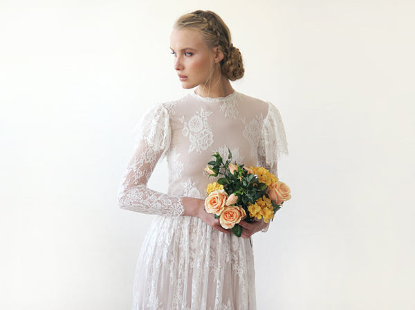 Woodland Wedding Dress, Flutter Sleeves On Long Sleeves Vintage Lace Dress 1206