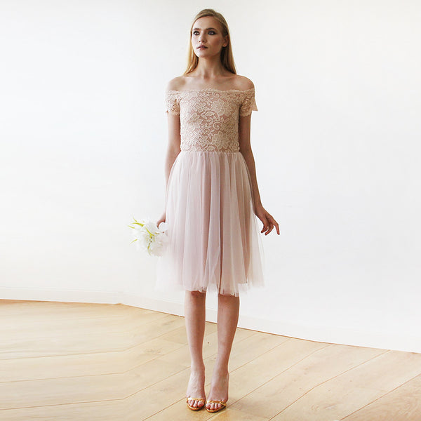 Off-the-Shoulders Blush Pink Tulle & Lace Midi  Dress  #1153