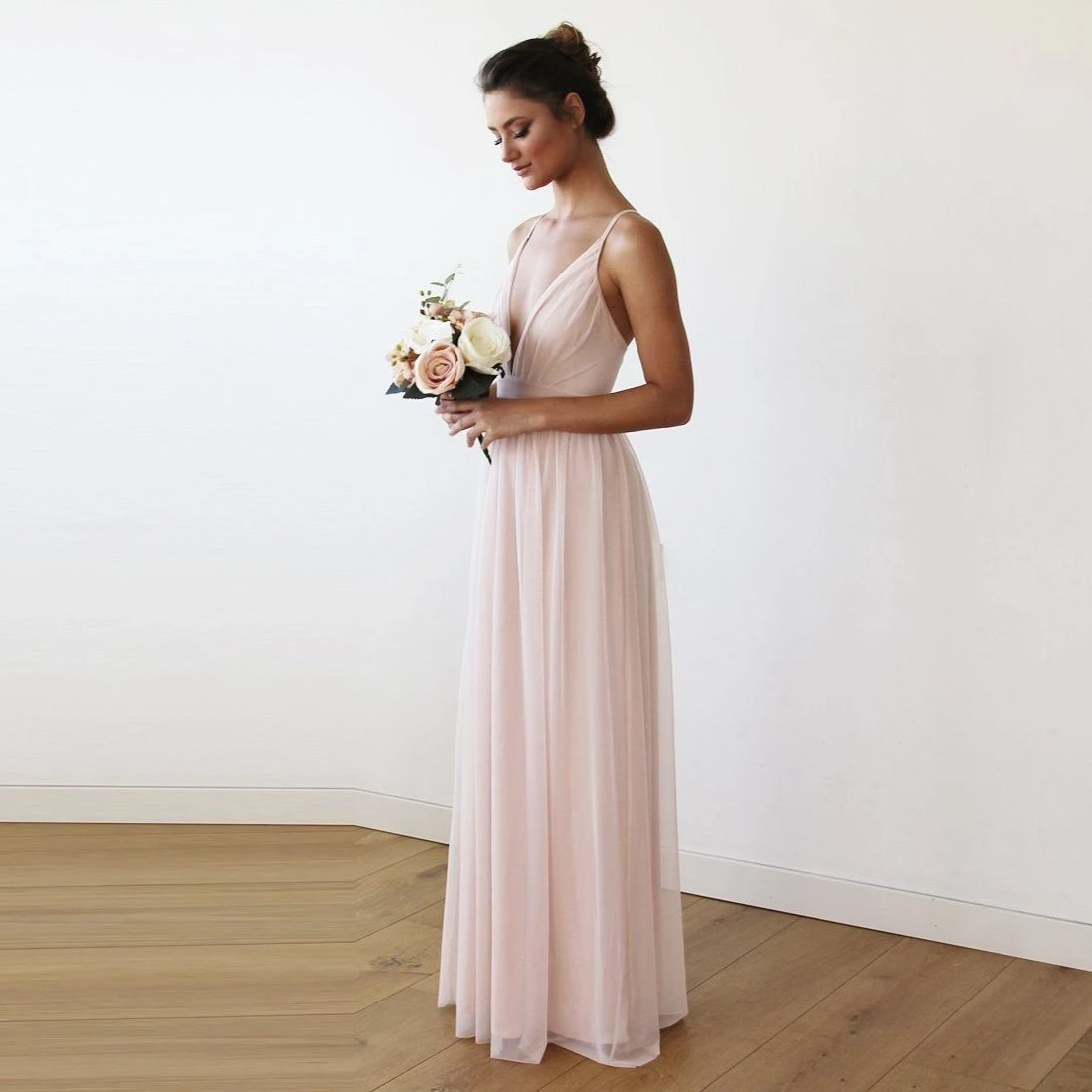 Chiffon Maxi wrap with thin straps - Light pink maxi dress  1170