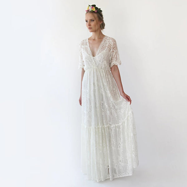 Boho ivory bat sleeves maxi lace dress,simple wedding maxi dress, bohemian wedding Dress, 1241