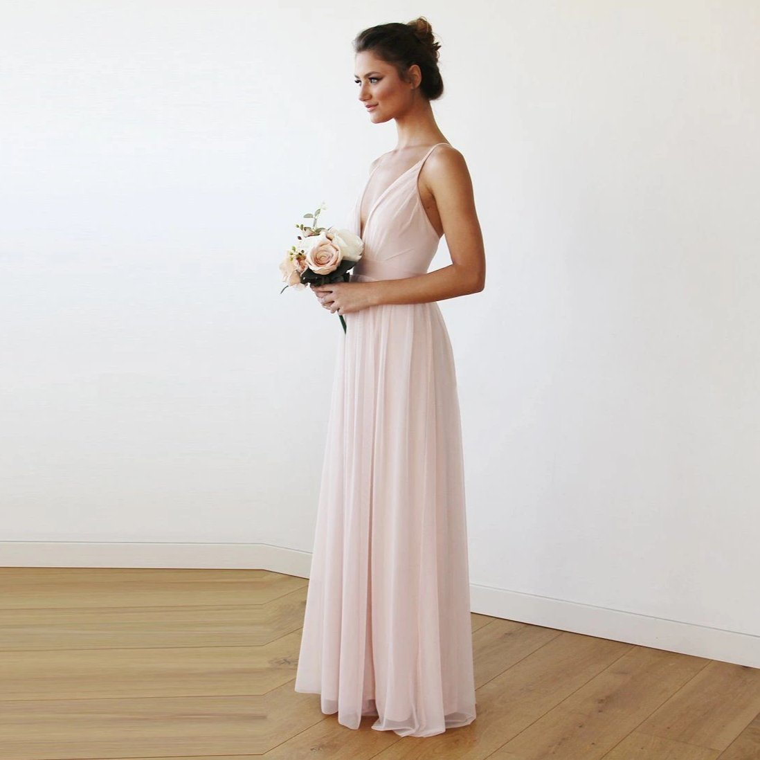 Chiffon Maxi wrap with thin straps - Light pink maxi dress with adjustable straps 1170 - Blushfashion