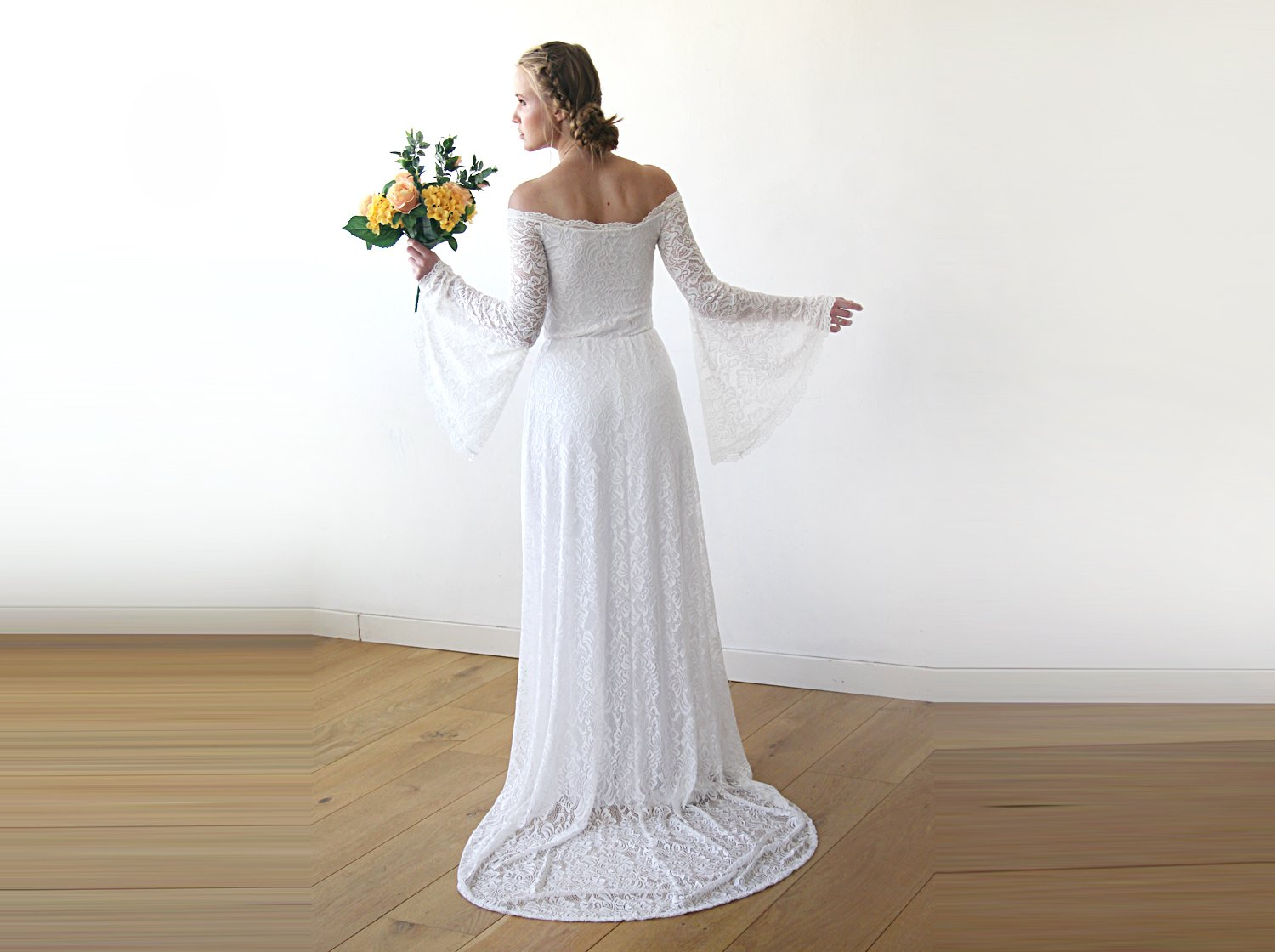 Long Bell Sleeve Lace Wedding Dress With A Train, Off-Shoulders Train Wedding Dress,  1202