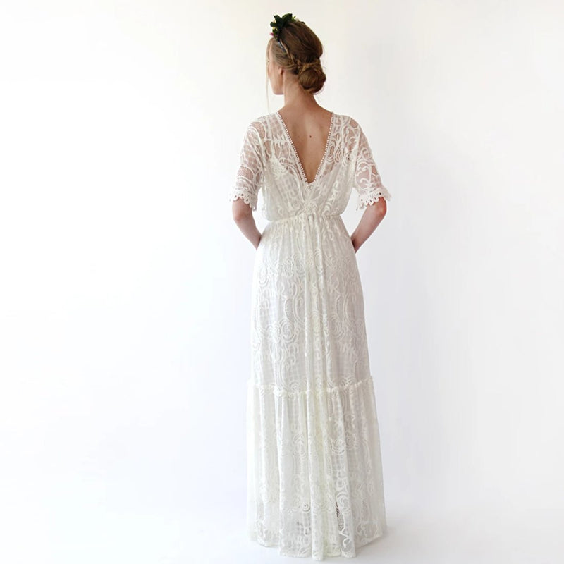 Bestseller Boho ivory bat sleeves  dress #1241