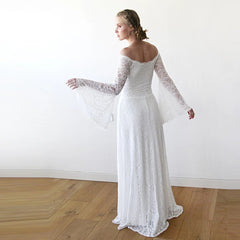 Long Bell Sleeve Lace Wedding Dress 1201