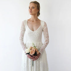 Diamond neck wedding dress with pockets , vintage inspired 1243