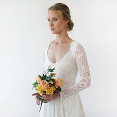 Diamond neck wedding dress with pockets , vintage inspired ,bohemian wedding dress, Ivory lace long sleeves dress 1243
