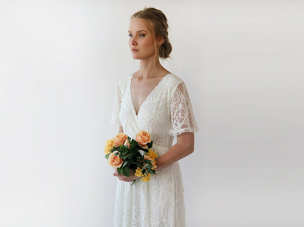Wrap lace bohemian wedding dress, Ivory butterfly sleeves 1247