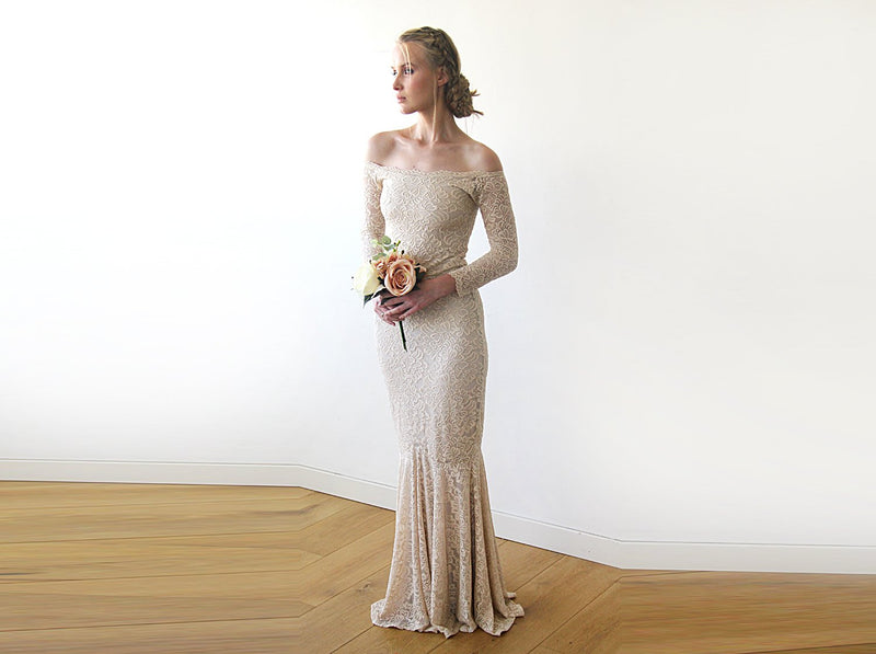 Champagne Lace Off-Shoulders  Mermaid  Dress  #1214