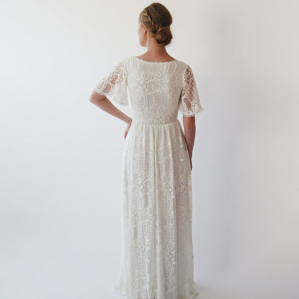 Wrap lace bohemian wedding dress #1247