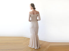 Champagne Lace Off-Shoulders Dress, Mermaid Lace Dress,  1214