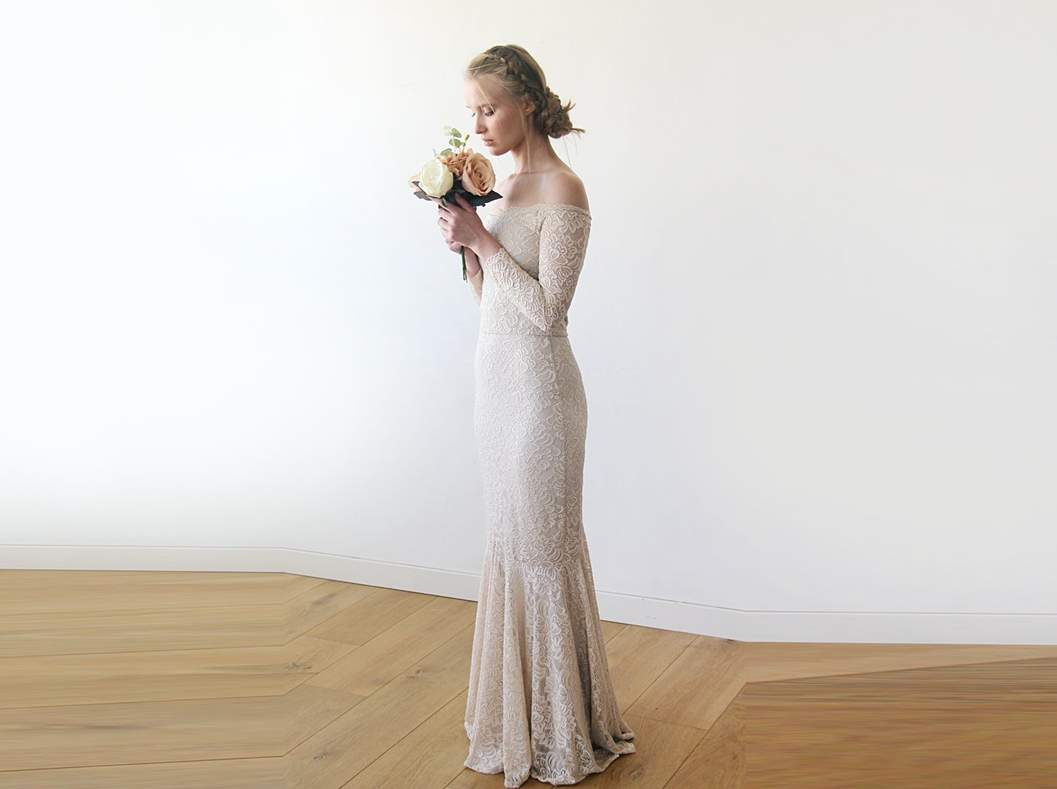 Champagne Lace Off-Shoulders Dress, Mermaid Lace Dress, Mermaid Wedding Dress in Champagne 1214