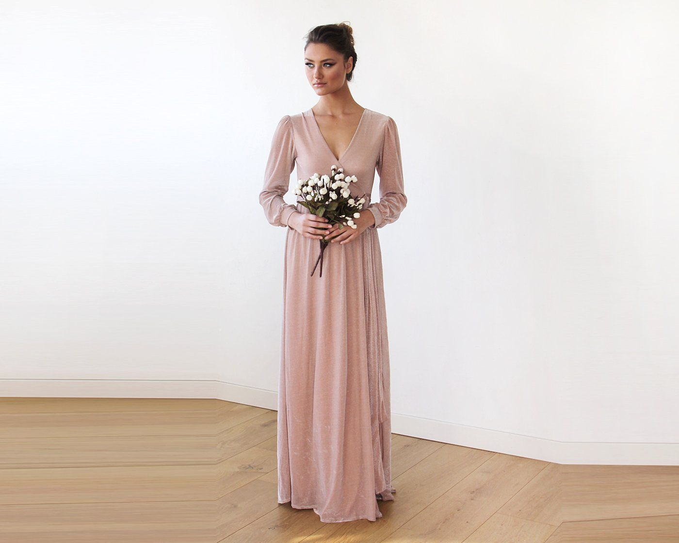 Pink Chiffon Crossover Maxi Dress With Belt 1168