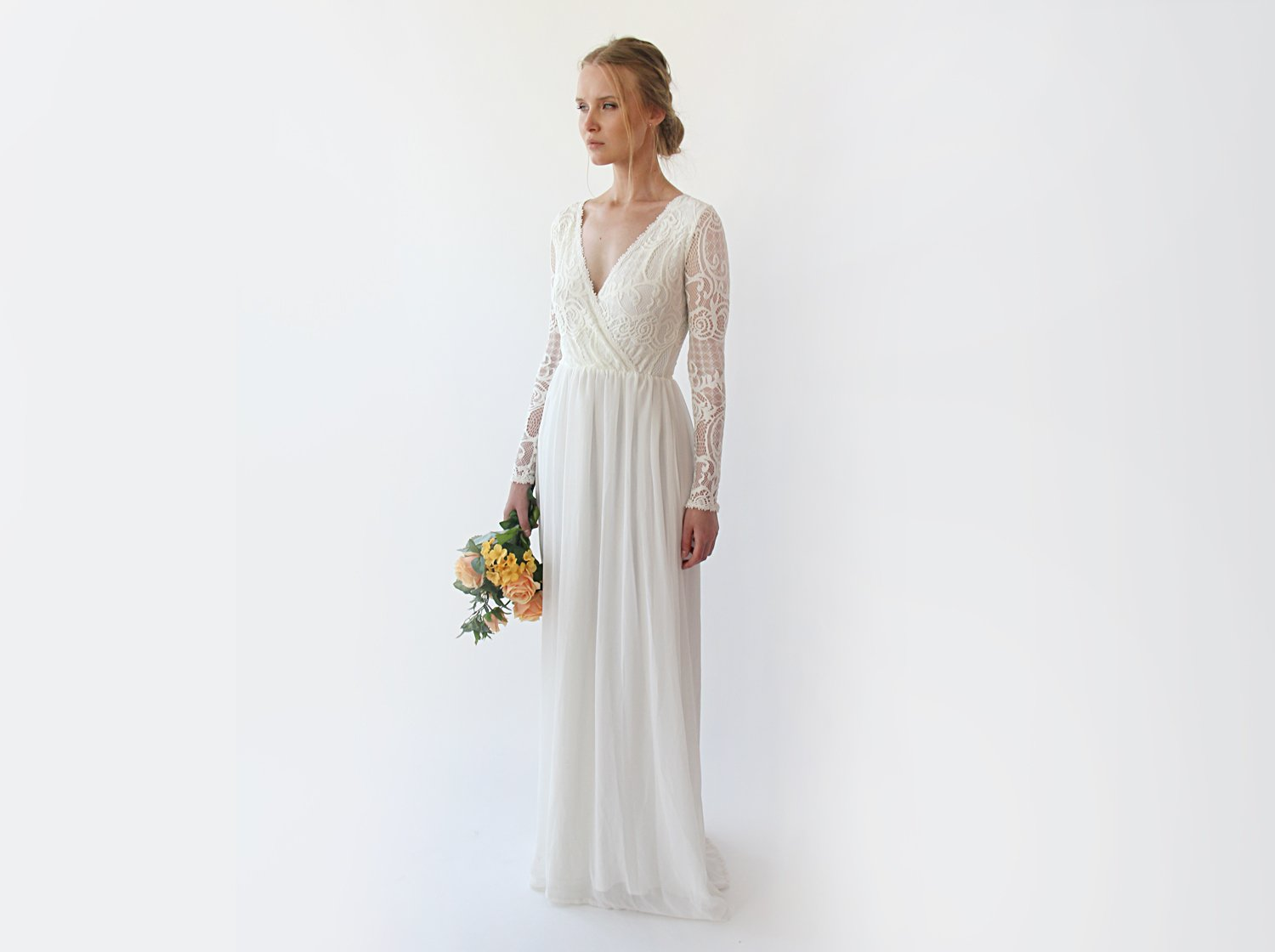 Long sleeves wrap lace wedding dress  , Ivory lace vintage inspired ,bohemian wedding dress, 1242