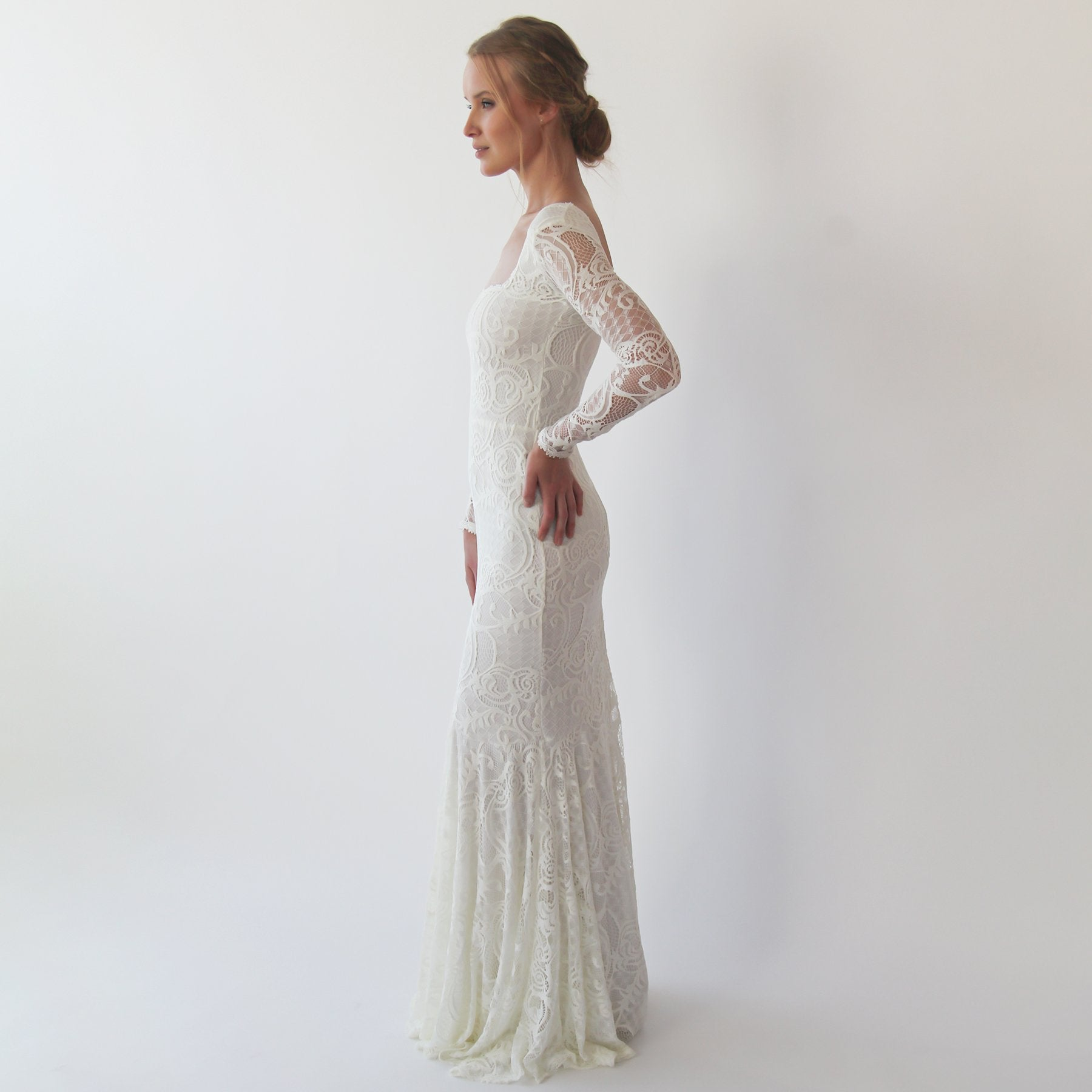 Mermaid lace wedding dress with square neckline , vintage inspired ,bohemian wedding dress, Ivory lace long sleeves dress 1245