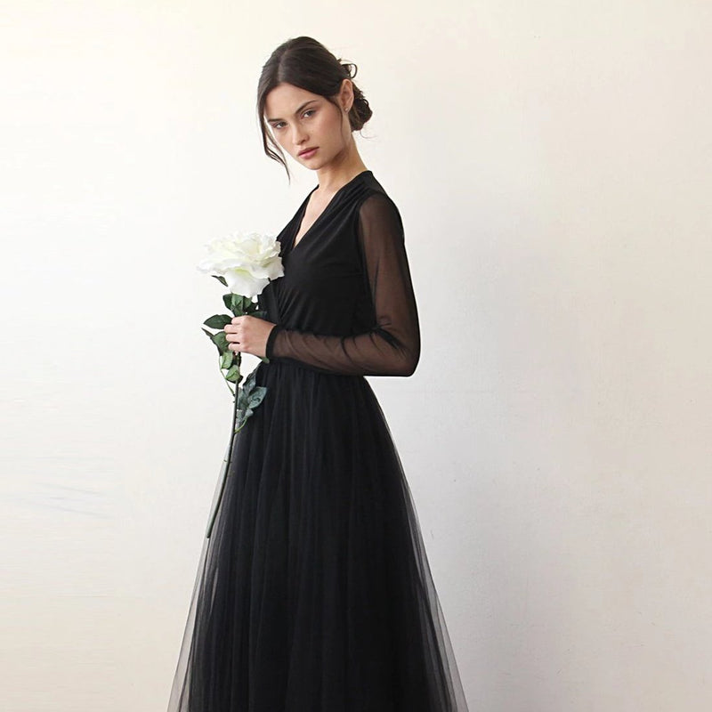 Black wrap tulle gown with long chiffon sleeves and slit 1174 - Blushfashion