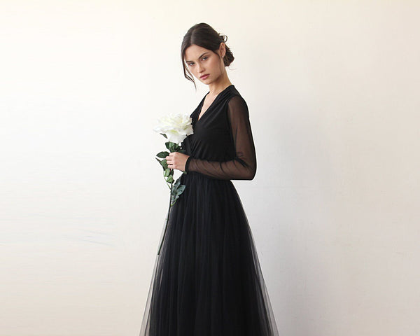 Black wrap tulle gown with long chiffon sleeves and slit 1174