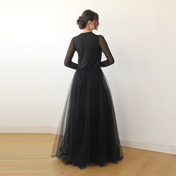 Black wrap tulle dress with chiffon mesh sleeves  #1174