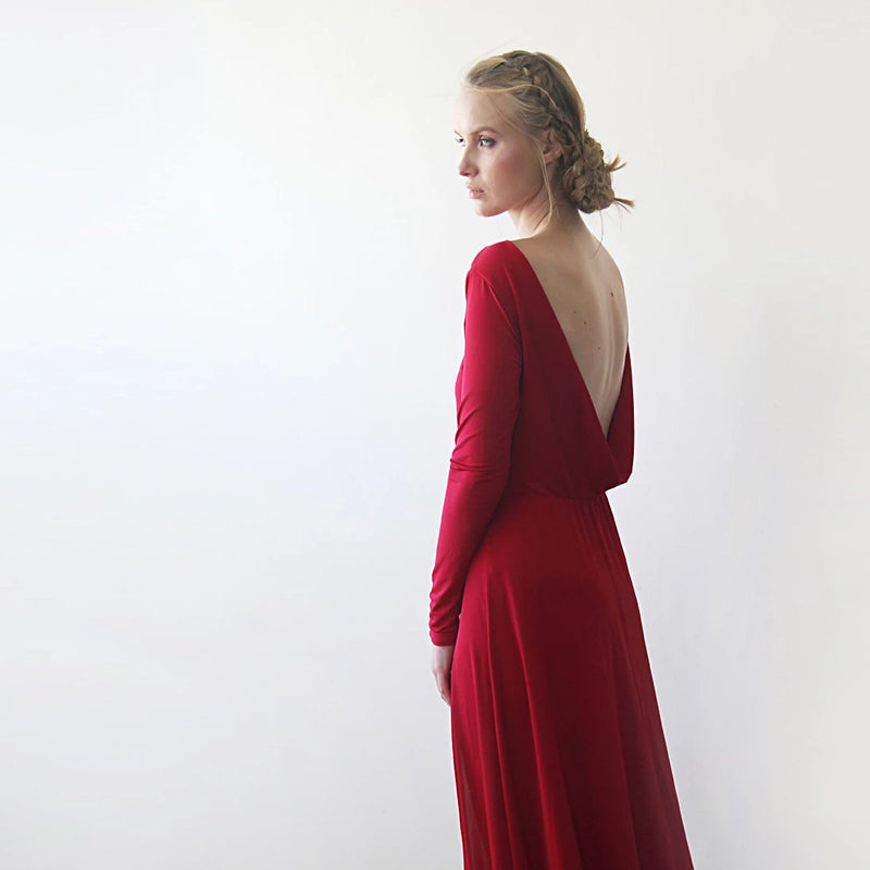 Backless  Red Open Back Maxi Dress  With A Slit #1100