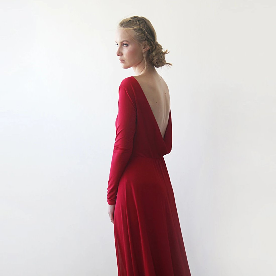 Red Formal Backless Long Sleeve Maxi Dress With Open-back SALE 1041