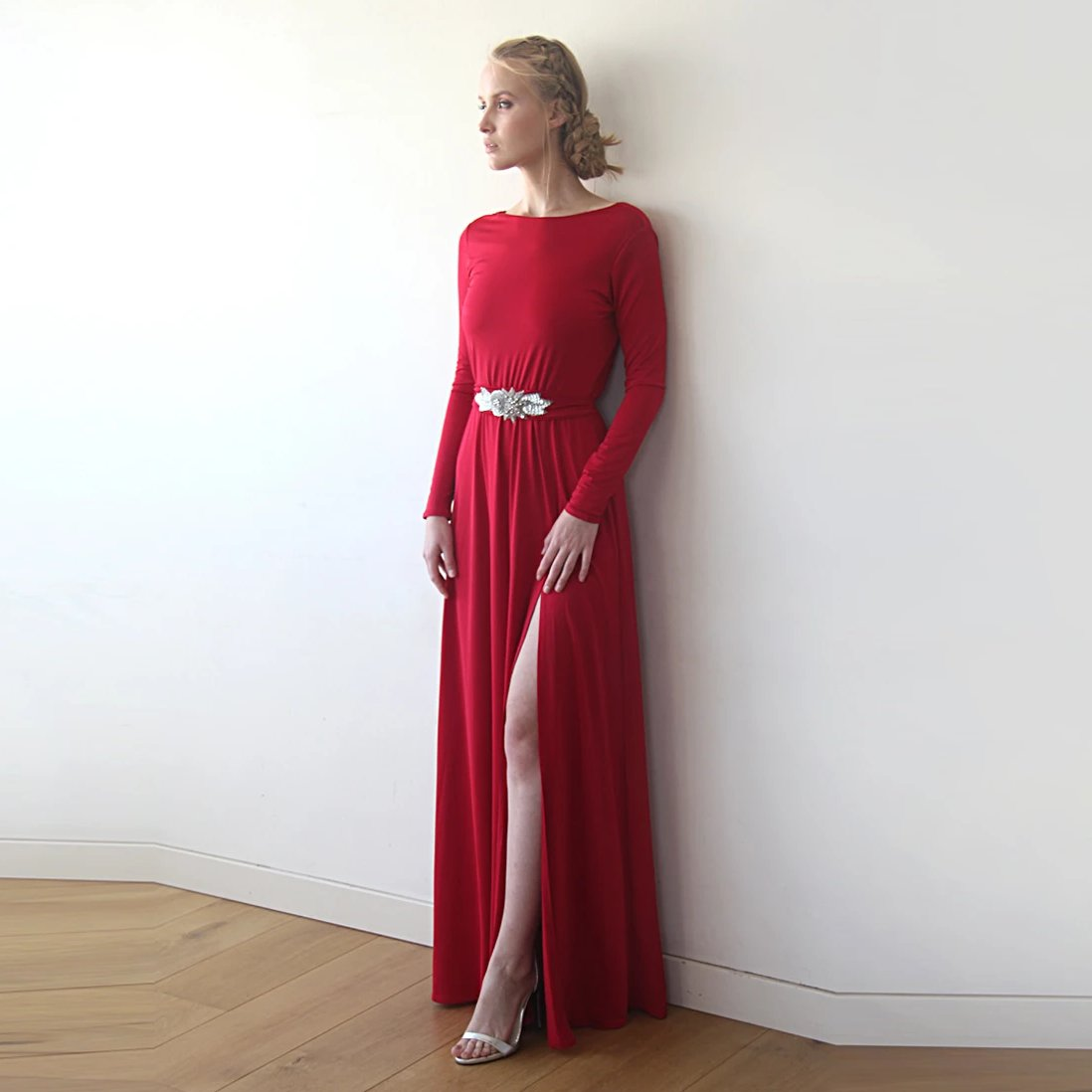 Deep Red Open Back Maxi Dress, Backless Bridesmaids Dress With A Slit, Long Sleeves Red Dress 1100 - Blushfashion