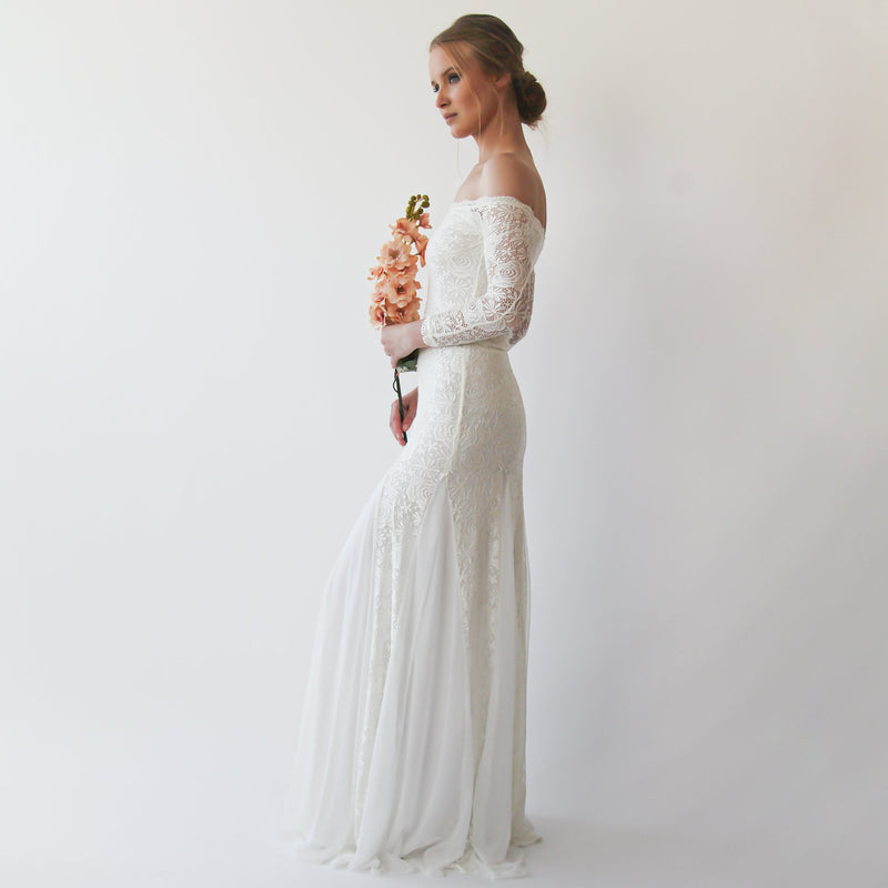 Ivory Off Shoulder Wedding Maxi Dress #1228