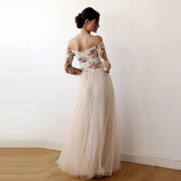 Off-Shoulder Floral And Champagne Tulle Dress With A Slit 1176 - Blushfashion