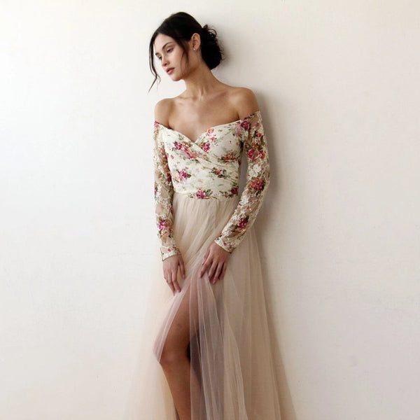 Off-Shoulder Floral And Champagne Tulle Dress With A Slit 1176