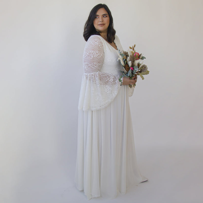 Curve & Plus size Bohemian Ivory Vintage Style wedding dress  with bell sleeves  1326