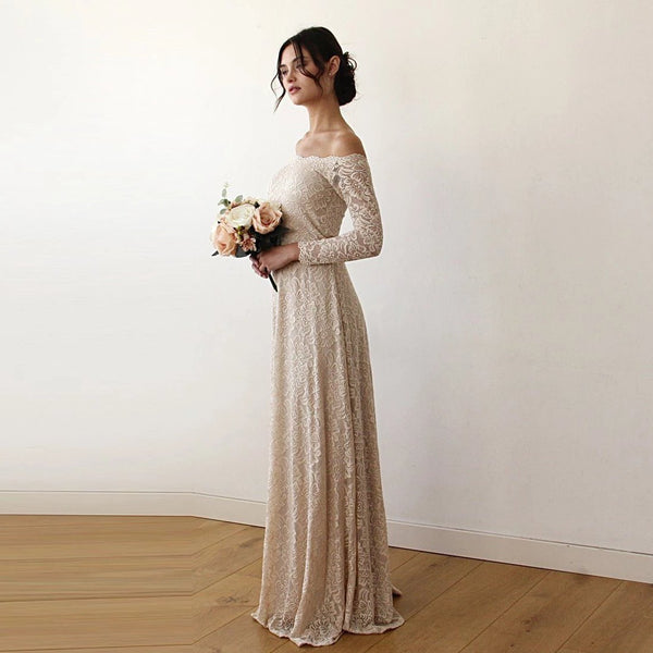 Champagne Off-The-Shoulder Floral Lace Medium-Long Sleeve Maxi Dress 1119
