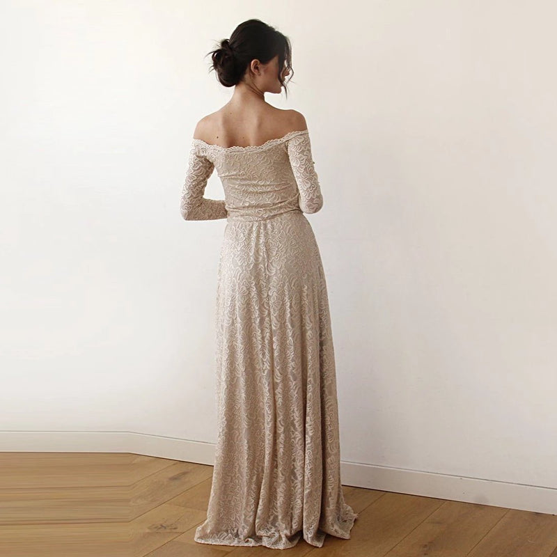 Champagne Off-The-Shoulder Floral Lace Medium-Long Sleeve Maxi Dress 1119 - Blushfashion
