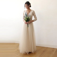 Champagne  Tulle and Lace Long Sleeve Wedding Maxi Dress 1125 - Blushfashion