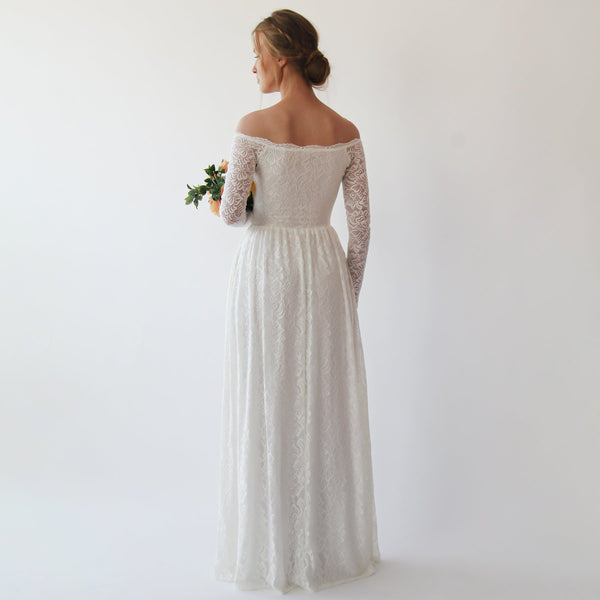 Off the shoulder wrap wedding dress with pockets #1244