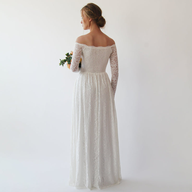 Bestseller Ivory Off the shoulder wrap wedding dress with pockets #1244