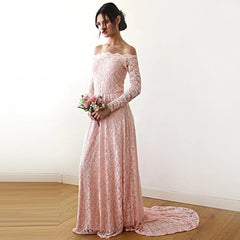 Pink Off-The-Shoulder Floral Lace Long Sleeve Gown With Train SALE 1148