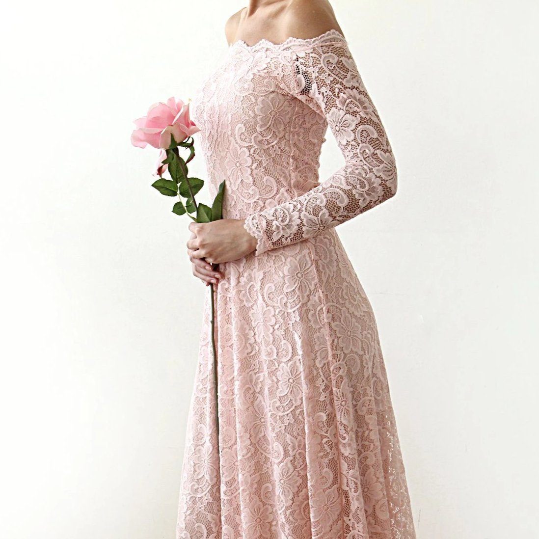 Pink Off-The-Shoulder Floral Lace Long Sleeve Gown With Train 1148 - Blushfashion